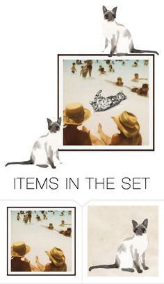"""The cat on the beach"" by perfectforyou ❤ liked on Polyvore featuring art"