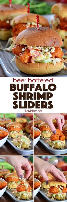 Perfectly crunchy BEER BATTERED BUFFALO SHRIMP SLIDERS are insanely delicious and pack a lot of flavor in every bite. Serve as a fun family meal or as an appetizer at your next party. recipe at TidyMo (Seafood Recipes) Shrimp Dishes, Shrimp Recipes, Fish Recipes, Appetizer Recipes, Seafood Appetizers, Seafood Party, Party Recipes, Sandwich Recipes, Buffalo Shrimp