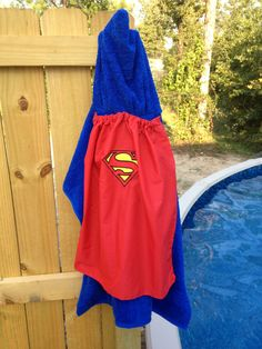 Superman hooded bath towel with cape embroidried by SewMeTheMoney, $23.99