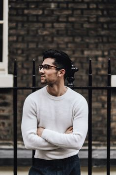 Joey London wears our Wakley Ribber Jumper Mens Fashion Blog, Best Mens Fashion, Men's Fashion, Fashion Photo, Marine Hose, Mode Man, Trends Magazine, Photography Poses For Men, Man Photo