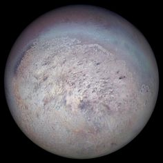 Triton, the largest moon of Neptune and the coldest place in the Solar System.  The origin and evolution are not that well known. However from the distinctiveness of both its orbit and its surface, we can derive that this moon has undergone significant remodelling during ages past. There are two theories regarding the origin of Triton. The first is that it was formed within the Neptune system as an equatorial satellite to Neptune, developing at its current orbit.