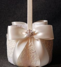 Flower Girl Basket with Light Ivory Lace and Double Faced Satin Bow - Katherine