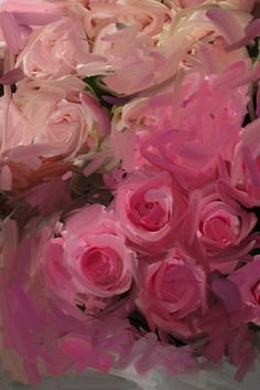 Beautiful rose painting ..hot pinks, light pinks, abstract floral, in acrylic or oils, by karina allrich