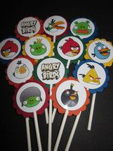 24 ANGRY BIRDS Birthday Cupcake Toppers