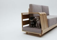 Modern sofa design is inviting and comfortable for pets and their owners. Unique furniture piece features an indoor dog house, offering a blend of a seat for people and a pet bed. Clever sofa design i Canapé Design, House Design, Interior Design, Creative Design, Creative Ideas, Garden Design, Dog Place, Pet Furniture, Furniture Design