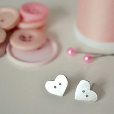 Heart shaped button earrings