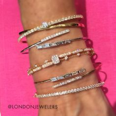 """""""Mix, match and stack and create your own style of an armparty at #londonjewelers #bracelets #gold #diamonds #baguettes #design #picoftheday #stack…"""""""