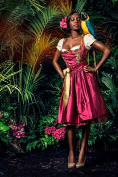 EL PICAFLOR a Munich based Designer shows her Dirndl and costumes colletion with a very exotic background. So we can WEAR a Dirnd. Dirndl Dress, Dress Up, Rosa Style, Pink Fashion, Womens Fashion, 2015 Trends, Full Skirts, Glamour, Models
