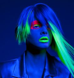 Neon Makeup and Hair Highlights