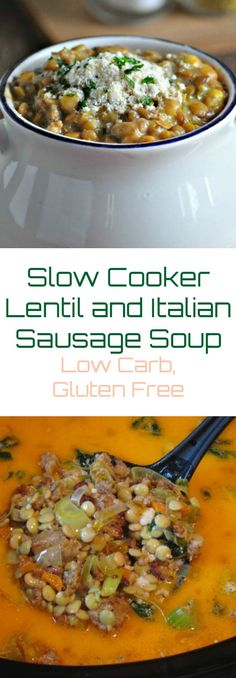 Lentil and Italian Sausage Soup – Low Carb, Gluten Free via @PeaceLoveLoCarb