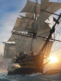 """ritasv: """" HMS Victory in action by cj-productions """""""