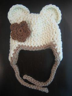 Crochet Hat PATTERN Baby Bear Chunky Earflap Hat by PoshPatterns
