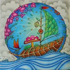 Natures sailboat, enchated forest, cute mushroom , coloring book, adult coloring, color scheme, beautiful, leaves, fairy sailboat, secret garden,