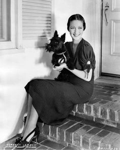 Actress Dorothy Lamour and her Scottie. During World War II, she toured the country, selling in excess of $300 million worth of war bonds. Acted in: My Favorite Brunette.