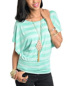 Mint Stripe Dolman Top
