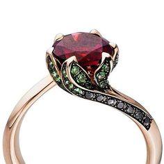 Tomasz Donocik Rubellite Lily Pad Ring 18k Rose Gold Rubellite Black Diamond Tsavorite