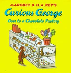 When George and the man with the yellow hat stop to shop at a chocolate factory store, George is soon off to investigate on his own.