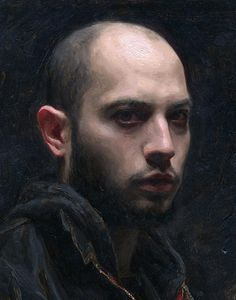 """Self-Portrait"" - Sean Cheetham (b. 1977), oil on canvas, 2011 {figurative realism #impressionist art male head man face cropped painting #2good2btrue} seancheetham.blogspot.com"