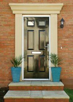 Standard Door Surround Front Door Porch, Front Door Entrance, Entrance Ways, House Front, Entry Doors, Front Porches, Front Doors, Door Trims, Living Room Remodel