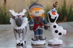 Frozen - Tiny Dreamers Sven, Kristoff e Olaf em feltro. Sven, Kristoff and Olaf in felt.