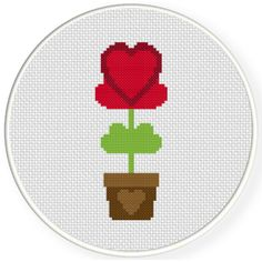 FREE for Oct 3rd 2016 Only - Heart Plant Cross Stitch Pattern