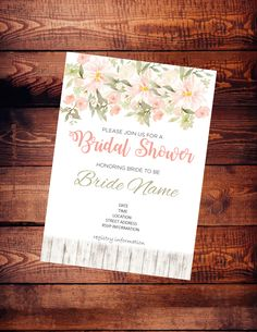 Bridal shower invitation - digital download - customize - flowers and fence