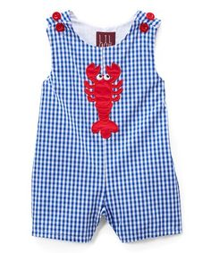 b14669fb83b Lil Cactus Dark Blue Gingham Lobster Shortalls - Infant   Toddler