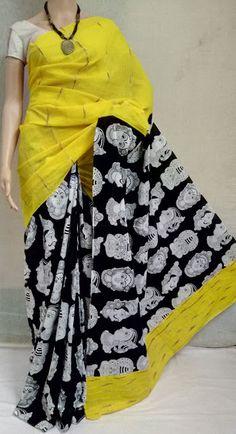 Elegant Fashion Wear Explore the trendy fashion wear by different stores from India Kalamkari Fabric, Kalamkari Dresses, Saree Blouse Patterns, Saree Blouse Designs, Chiffon Saree, Cotton Saree, Block Print Saree, Recycled Dress, Churidar Designs