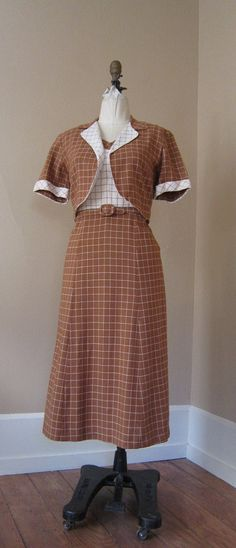 WINDOWPANE 1940s Vintage WWII SWEETHEART Dress Set