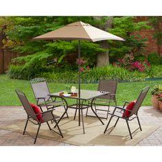 Garden Umbrella Set 6-Piece Steel Outdoor Folding Patio Backyard Furniture Table #OutdoorFurniture