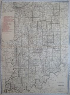 RARE Size INDIANA Map of Indiana with RAILROADS by plaindealing