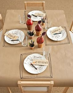 brown paper table cloth