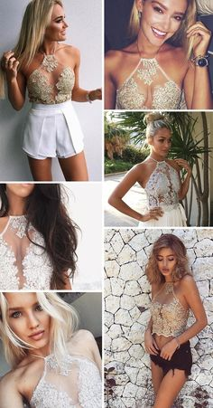 Summer Women Lace Crop Tops Embroidery White Backless Sexy Gauze Cami Spaghetti Strap Short Beach Party Cropped Tank Top - Miss. White Lace Crop Top, Lace Crop Tops, White Tank, Crop Top Elegante, Halter Tops, Look Fashion, Fashion Outfits, Short Court, Summer Crop Tops