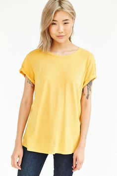 BDG Pigment-Dyed Unisex Wide Neck Tee