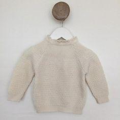 Selana strik sweater i økologisk uld. Råhvid.