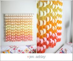 Apartment DIY | Ombre Paper Chain » jenandashleyblog.com.  This would be a super easy, super cheap craft for the apartment!
