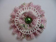 Shabby Stoffblume Applikation Vintage Blüte rosa Retro Landhaus Handarbeit