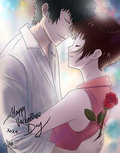Happy Valentines Day by SarahMillerCreations.deviantart.com on @DeviantArt. Don't remove the source! Shinya Kogami x Akane Tsunemori | Shinkane | Psycho-Pass | Psycho Pass