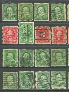 16 U.S. Revenue, Postage due, # 279 -1¢ Franklin, # 319 - 2¢ W stamps Precancel@