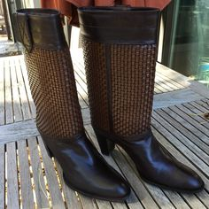 Stuart Weitzman boots - like new These Stuart Weitzman boots have such great detail to them. Dark chocolate brown with woven shaft,  size 8.5, purchased from Bloomingdales.com.  Pull on style, no zipper. No TradesNo️️ Offers considered through PM↗️OFFER button. Stuart Weitzman Shoes Heeled Boots