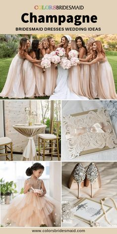 Champagne bridesmaid dresses 500 custom-made styles long and short cheap under 100 great to match blush wedding invitation and gold wedding shoes. Navy Champagne Wedding, Beige Wedding, Wedding Shoes, Wedding Dresses, Lace Wedding, Champagne Gown, Champagne Bridesmaid Dresses, Wedding Bridesmaids, Bridesmaid Shoes