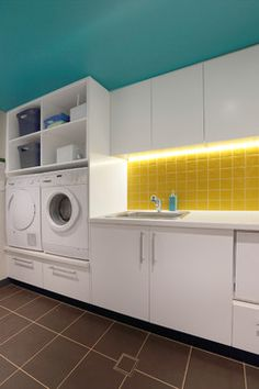 Haier Washing Machine Laundry Room Contemporary with Laundry Storage Sink Tile Floor Under Cabinet Lighting White Appliances Yellow Tile Washing Machine And Dryer, Washer And Dryer, White Appliances, Laundry Room Design, Laundry Design, Kitchen Furniture, Laundry In Bathroom, Bathroom Furniture, Room Design