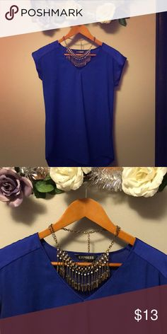 🌊Royal Blue Blouse🌊 This Blouse is an essential wardrobe item. Very comfortable and flattering. Elegant material. Dress up or down! Necklace NOT included. Express Tops Blouses