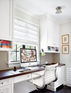 I like the length of the desk, the cabinets using the wall space and the shade for the window.