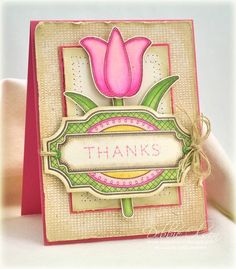 Tulip Thanks: Applique Flowers and Burlap Background: Spring card using JustRite stamps and Copic Markers. Blog Post is here: http://debbiedesigns.typepad.com/muse_and_amuse/2014/04/tulip-thanks-applique-flowers-and-burlap-background.html