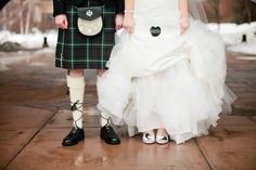 Mrs. Sword shows off the secret tartan heart sewn into her dress while posing with Mr. Sword.