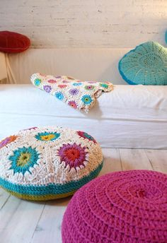Floor Cushion Crochet: Comfy and adorable seating in a child's bedroom. For reading, playing games, or visiting with friends.
