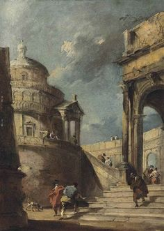 FRANCESCO GUARDI. CAPRICE OF A PALLADIAN ROTUNDA AND A COLONNADE WITH FIGURES CONVERSING. oil on canvas. 39,4 × 28,7 cm. Private Collection.