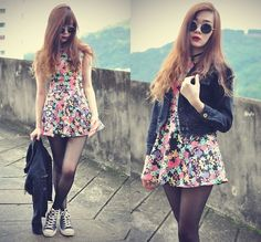 Floral skater dress, tights, converse, leather jacket