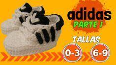 Zapatitos adidas tejidos a crochet 0-3 y 6-9 meses | parte 1/2